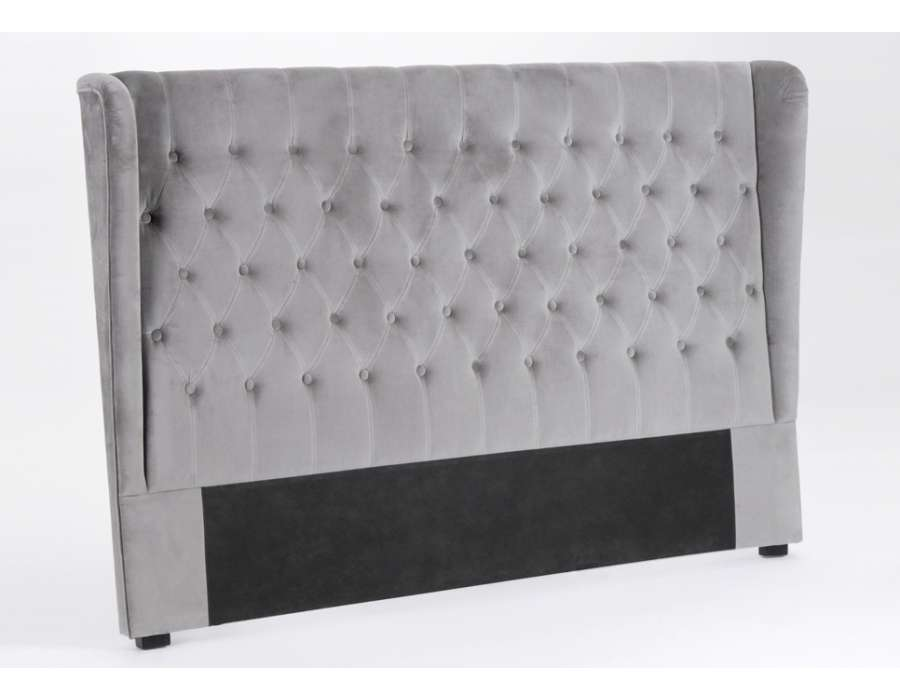 t te de lit 160 velours gris amadeus. Black Bedroom Furniture Sets. Home Design Ideas