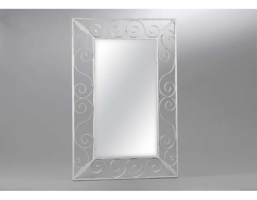 Tres grand miroir en fer blanc volutes amadeus for Grand miroir blanc