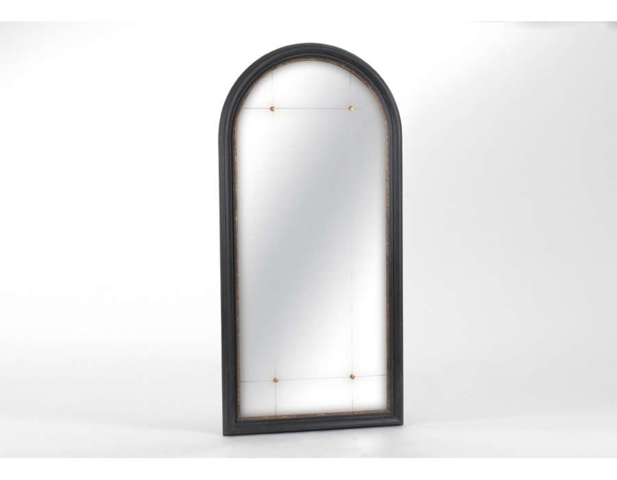 Miroir noir dor arrondi amadeus for Miroir arrondi