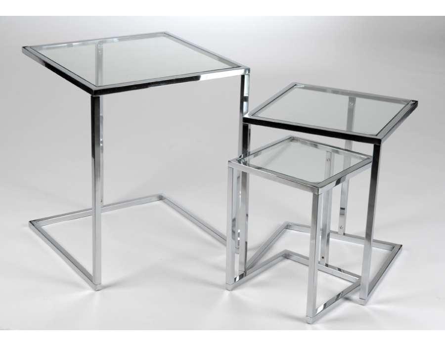 tables gigognes chrom e et verre. Black Bedroom Furniture Sets. Home Design Ideas