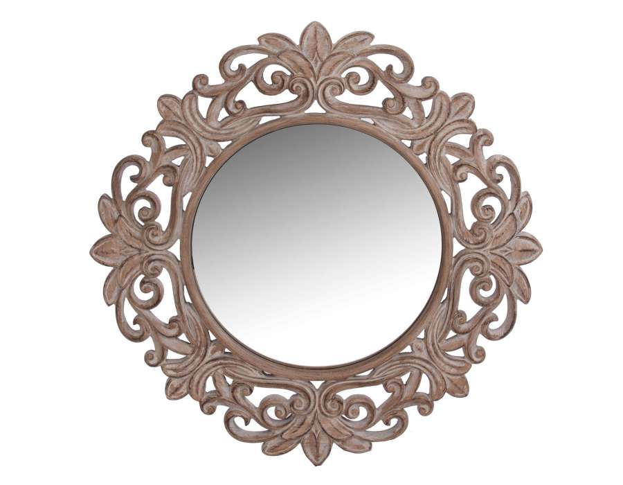 Grand miroir rond en bois vical home for Miroir rond grand