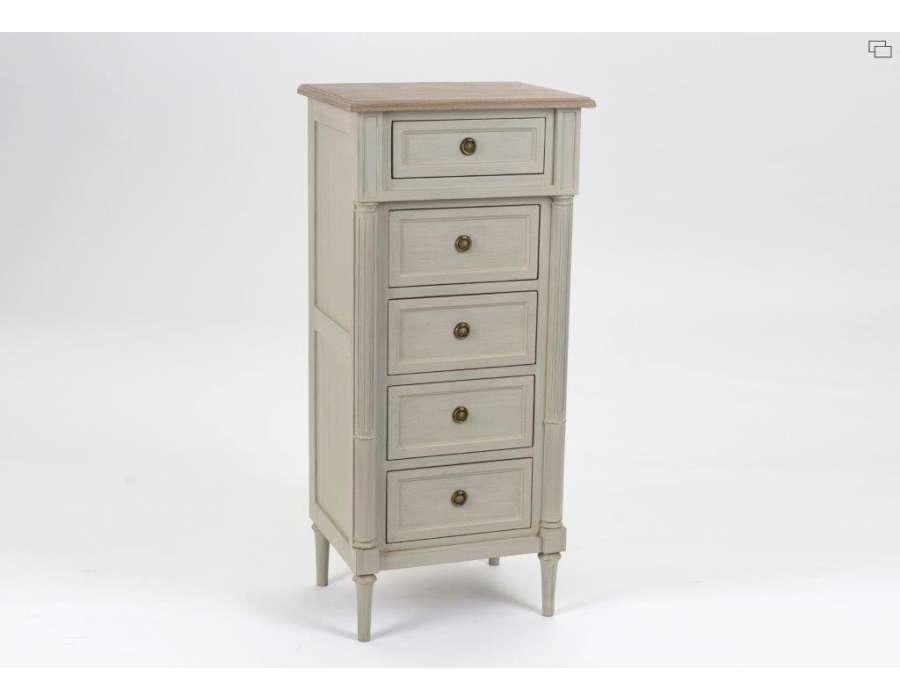 chiffonnier c rus lin avec 5 tiroirs de style directoire amadeus. Black Bedroom Furniture Sets. Home Design Ideas
