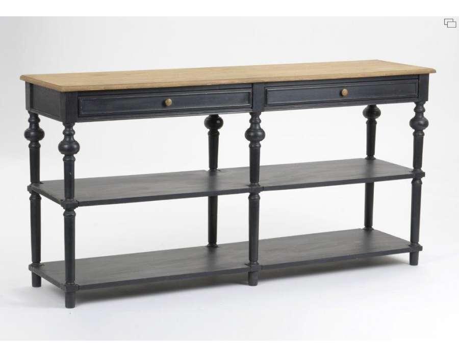 Meuble de drapier en bois noir ou console drapier noire for Modele de console meuble