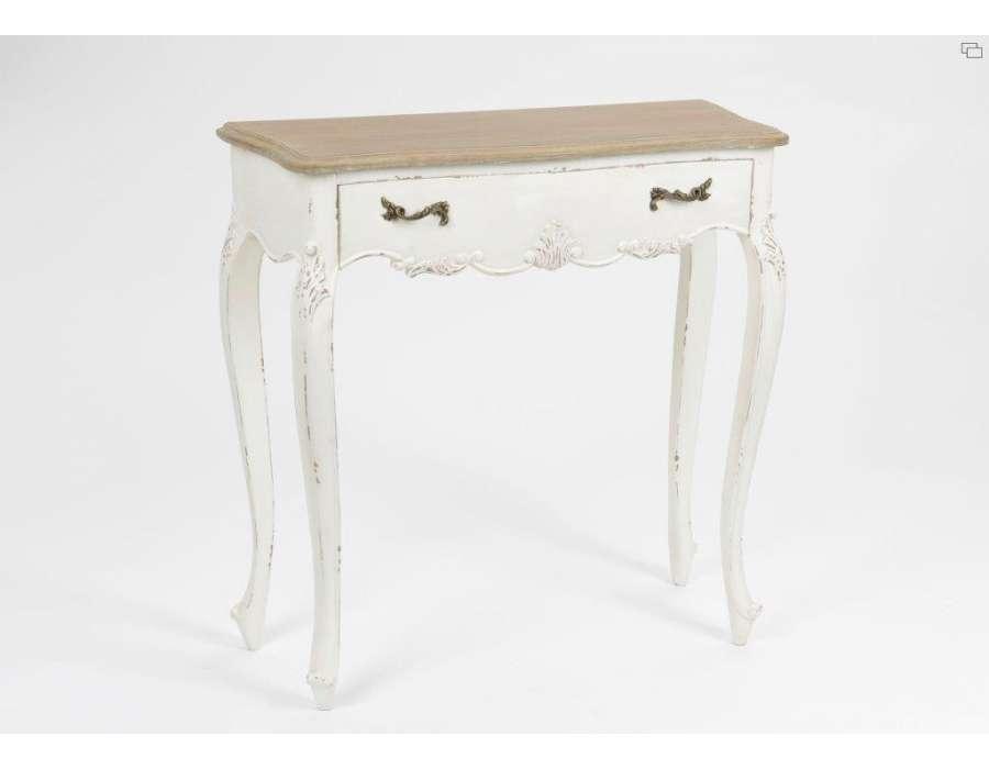 promotion 10 petite console bois vieilli blanche louise. Black Bedroom Furniture Sets. Home Design Ideas
