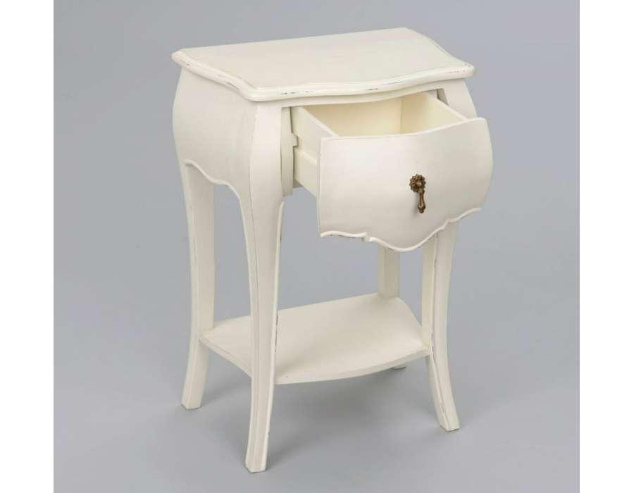 Table de nuit baroque blanche 1 tiroir - Table de nuit blanche ...