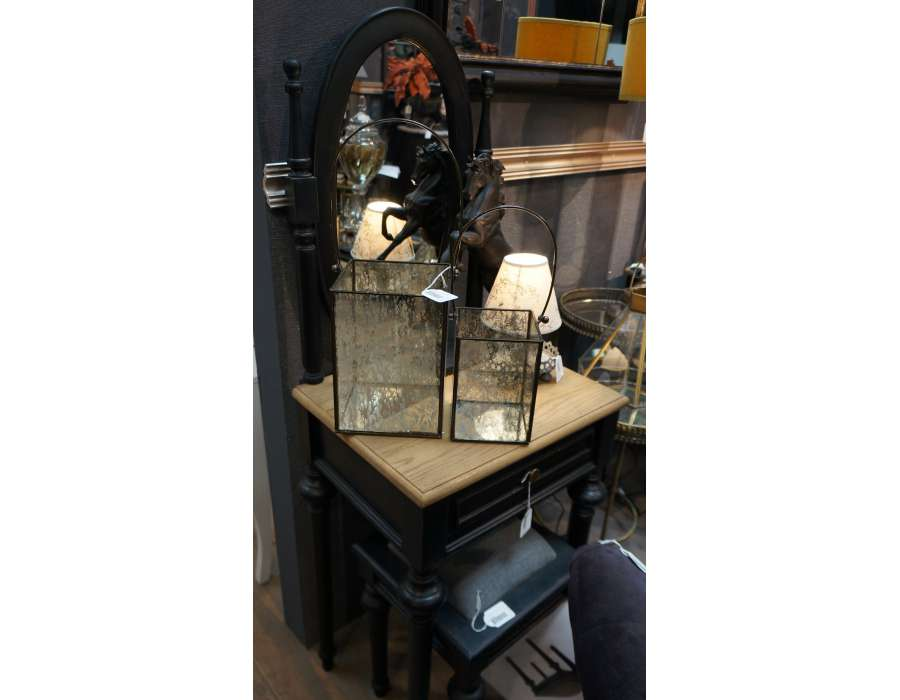 Coiffeuse chambre noire en bois avec miroir oval - Meuble coiffeuse noir ...
