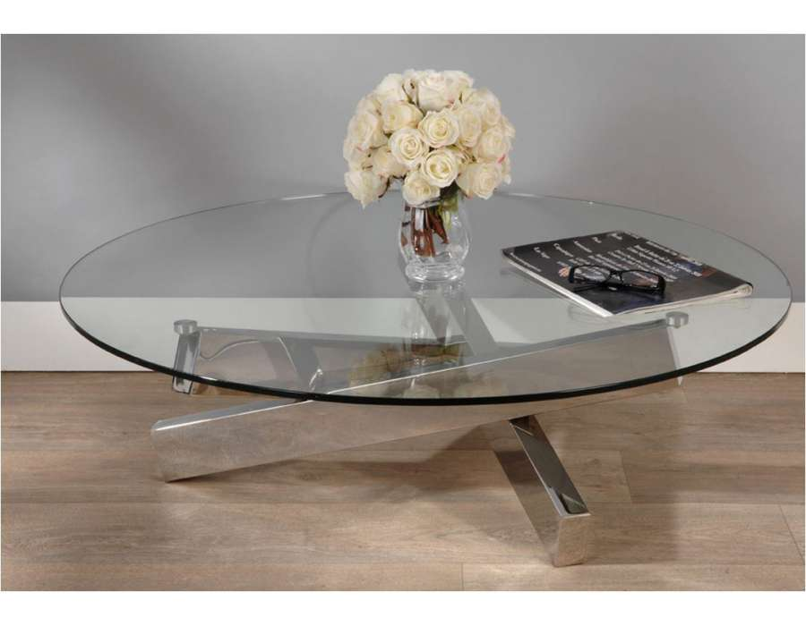 Table basse ronde en verre transparent et acier design - Table de salon en verre design ...