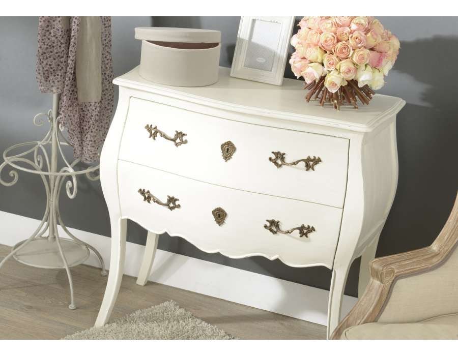 commode blanche baroque 2 tiroirs ou commode romantique. Black Bedroom Furniture Sets. Home Design Ideas
