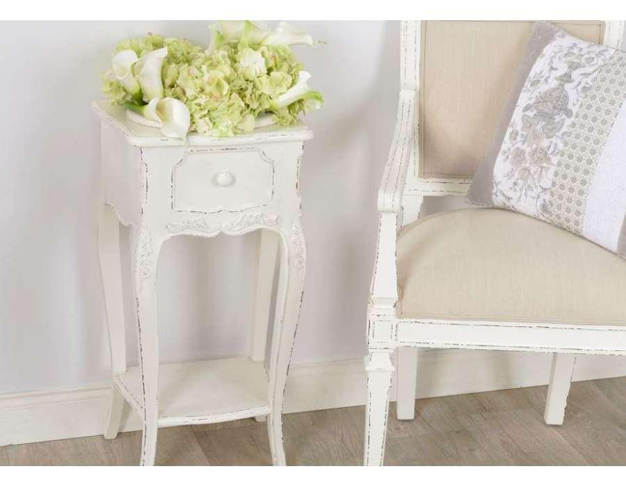 Console blanche pour la salle de bain meuble de charme - Meuble salle de bain shabby chic ...