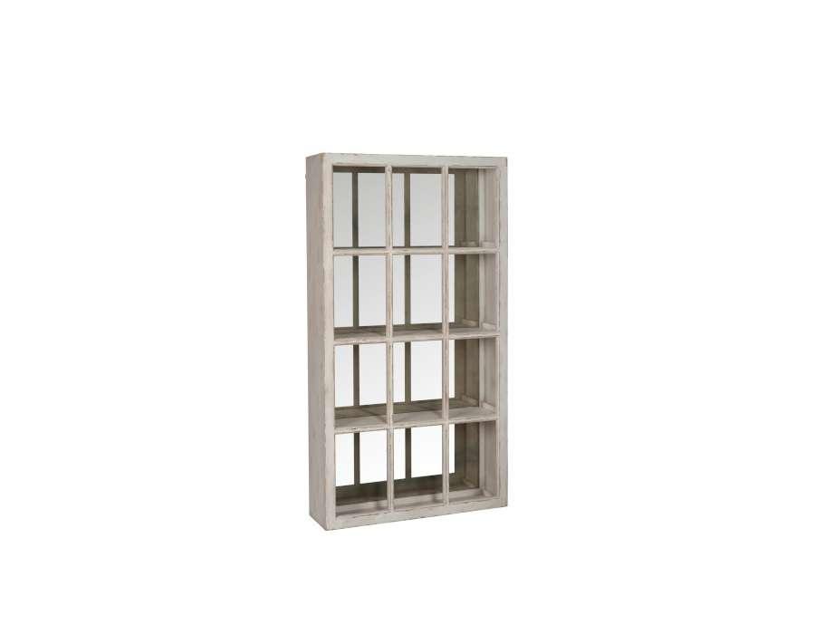 bibliotheque bois patiné ivoire miroir