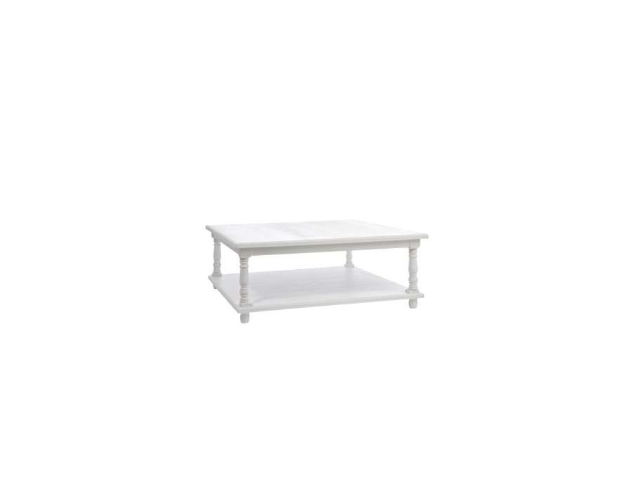 table basse blanche carr e shabby chic jolipa. Black Bedroom Furniture Sets. Home Design Ideas