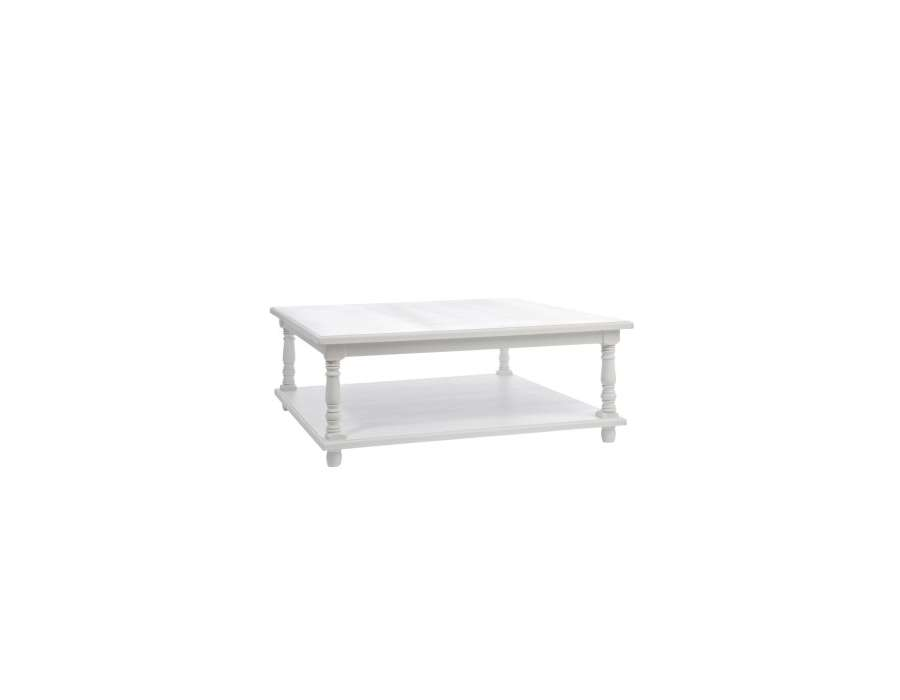 Table basse blanche carr e1 m shabby chic jolipa for Table blanche carree