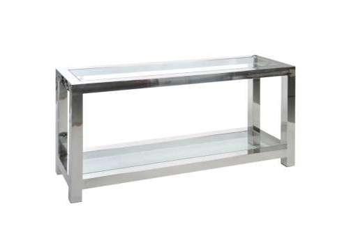 Console verre et acier chromée