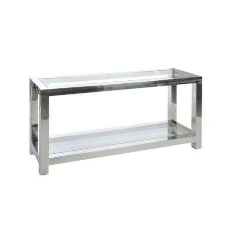console entr e design verre et acier chrom e jolipa. Black Bedroom Furniture Sets. Home Design Ideas