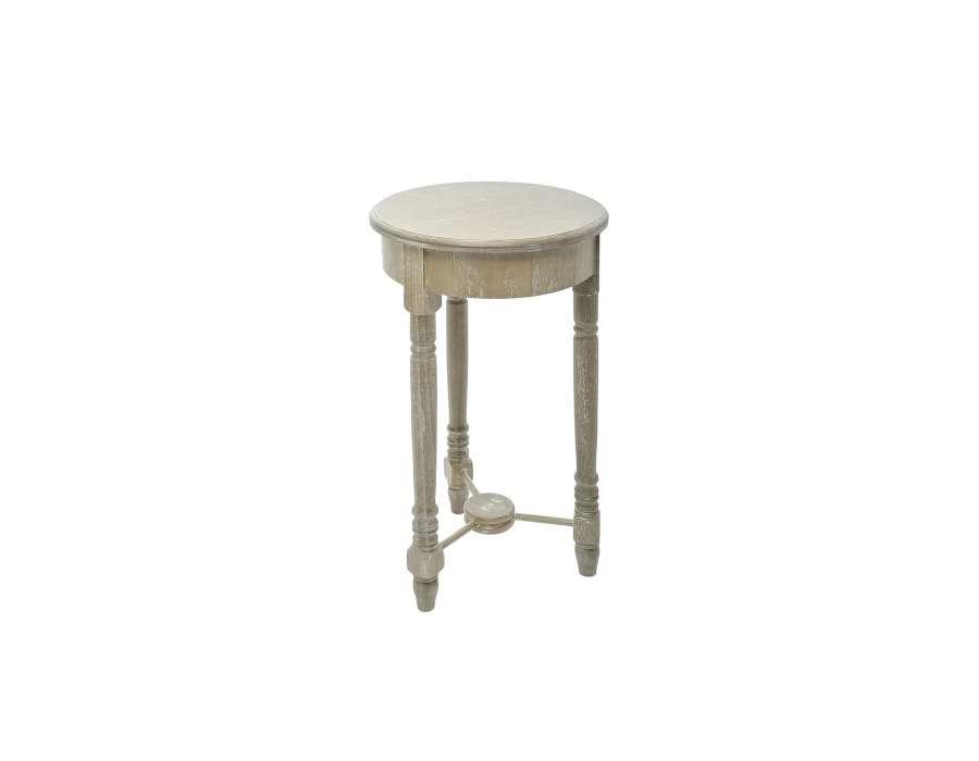 Table ronde haute ou sellette bois c rus haute pas chere for Meuble porte plante bois