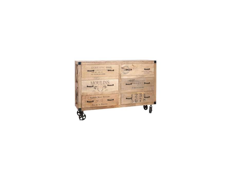 Commode bois industrielle sur roues