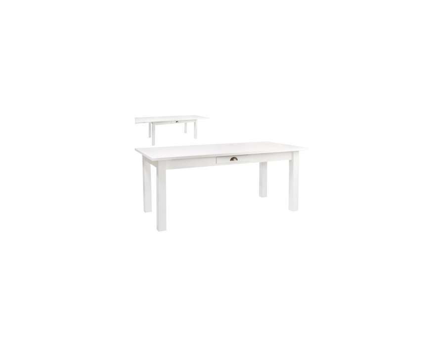 Table bois blanc 180 cm avec rallonge