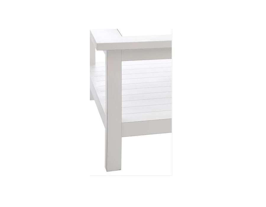 Table basse bois blanc et verre forme carrée