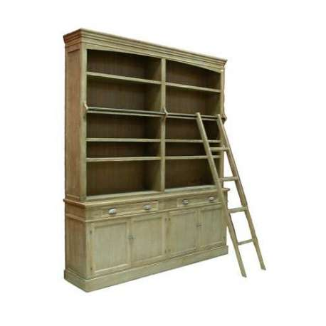 Grande biblioth que bois c rus avec echelle pour salon - Meuble bibliotheque avec echelle ...