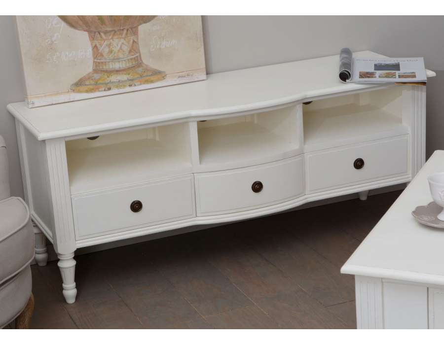 Meuble tv blanc charme meuble amadeus shabby chi for Meuble blanc tv