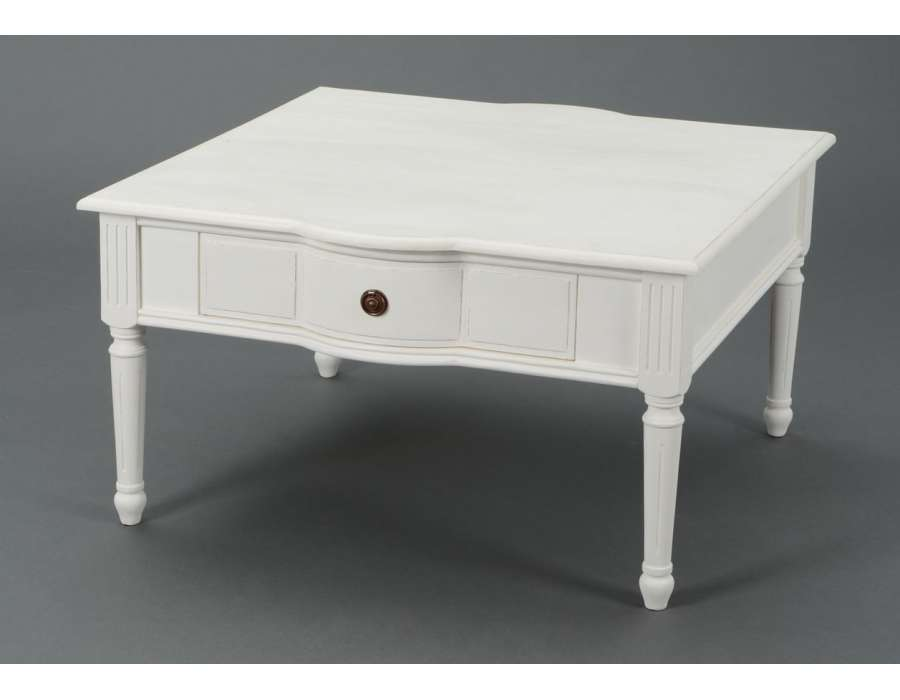 table basse blanche carr e shabby chic amadeus. Black Bedroom Furniture Sets. Home Design Ideas