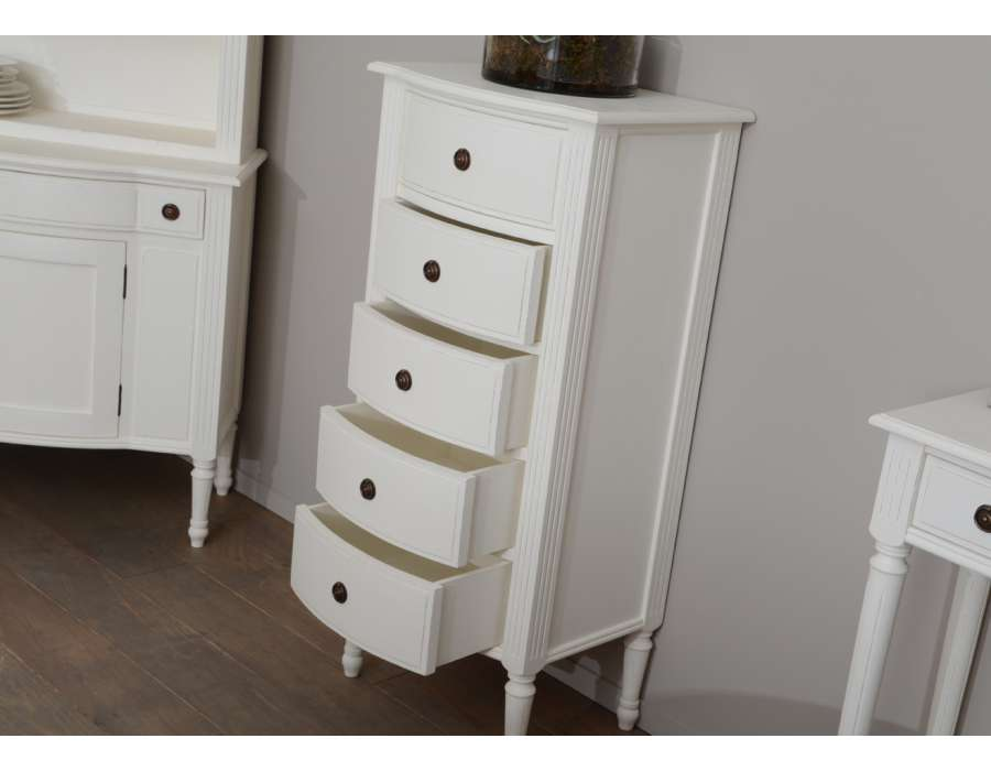 chiffonnier blanc 5 tiroirs style classique. Black Bedroom Furniture Sets. Home Design Ideas