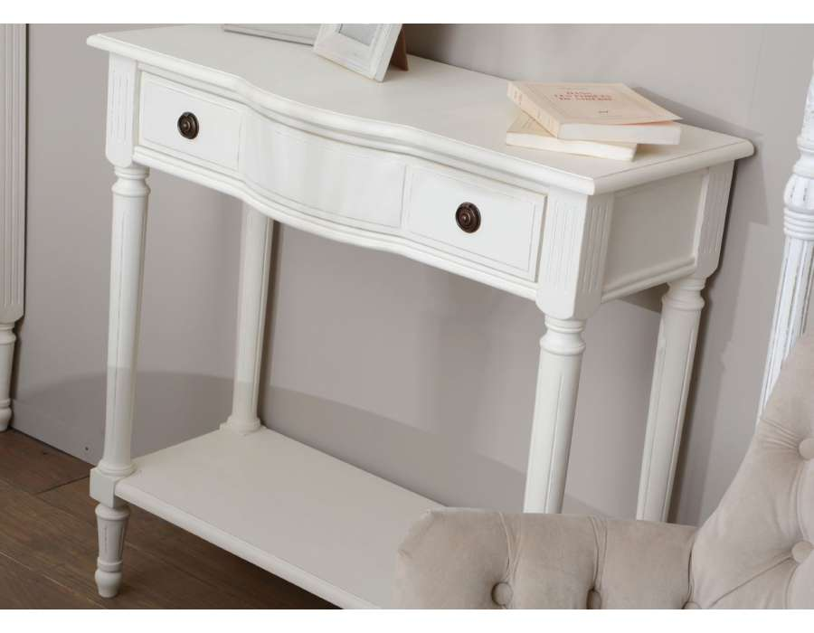 console bois blanc avec tiroir pas ch re amadeus. Black Bedroom Furniture Sets. Home Design Ideas
