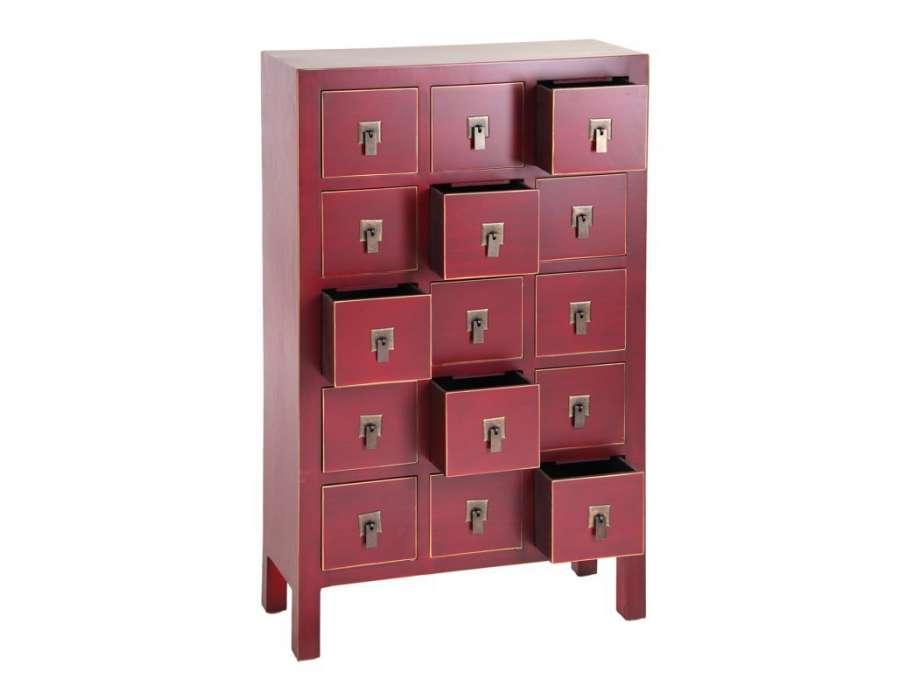 Meuble à tiroirs chinois rouge