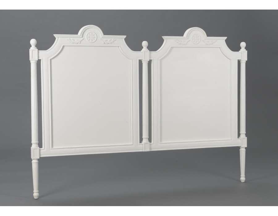 T te de lit blanche 160 cm 180 style gustavien - Tete de lit 180 ...