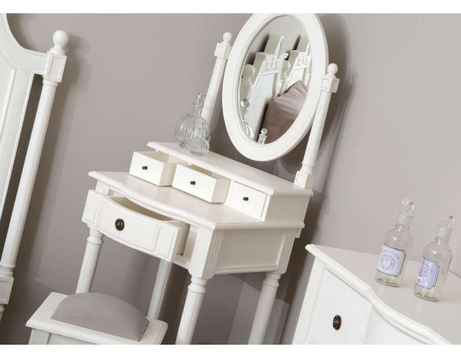 Meuble coiffeuse blanche directoire pour petite chambre - Coiffeuse enfant en bois ...