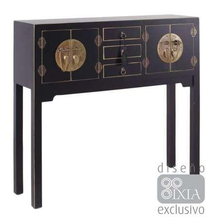 Console chinoise noire et or
