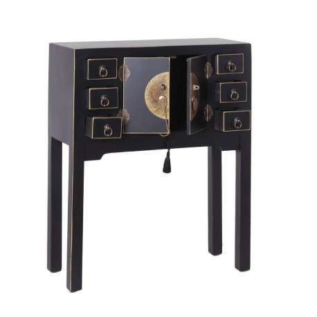 Console chinoise noire 6 tiroirs