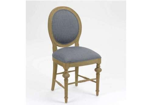 Chaise médaillon grise bois cérusé