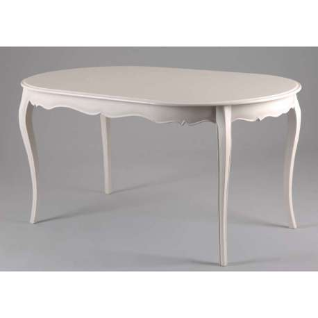 Table ovale blanche galbée