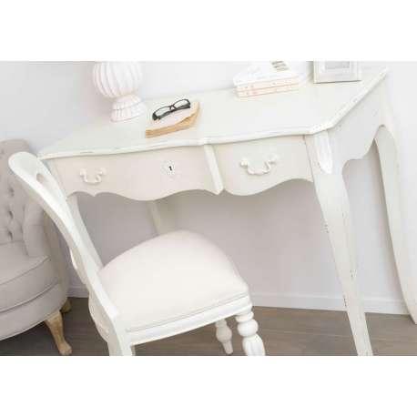 Bureau blanc patiné pas cher style baroque