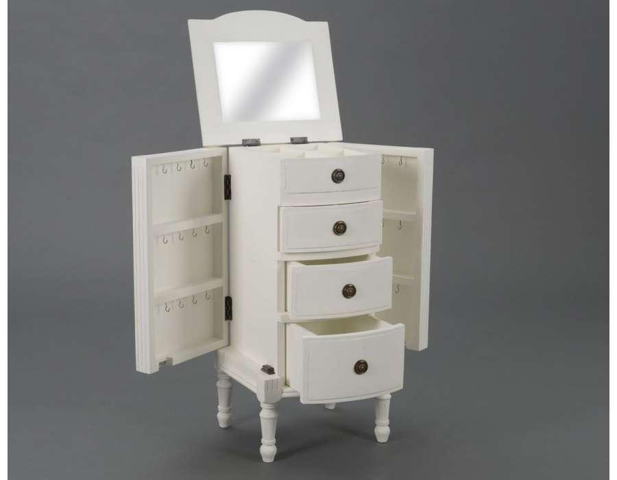 Meuble bijoux blanc directoire pour petite chambre for Chambre meuble blanc