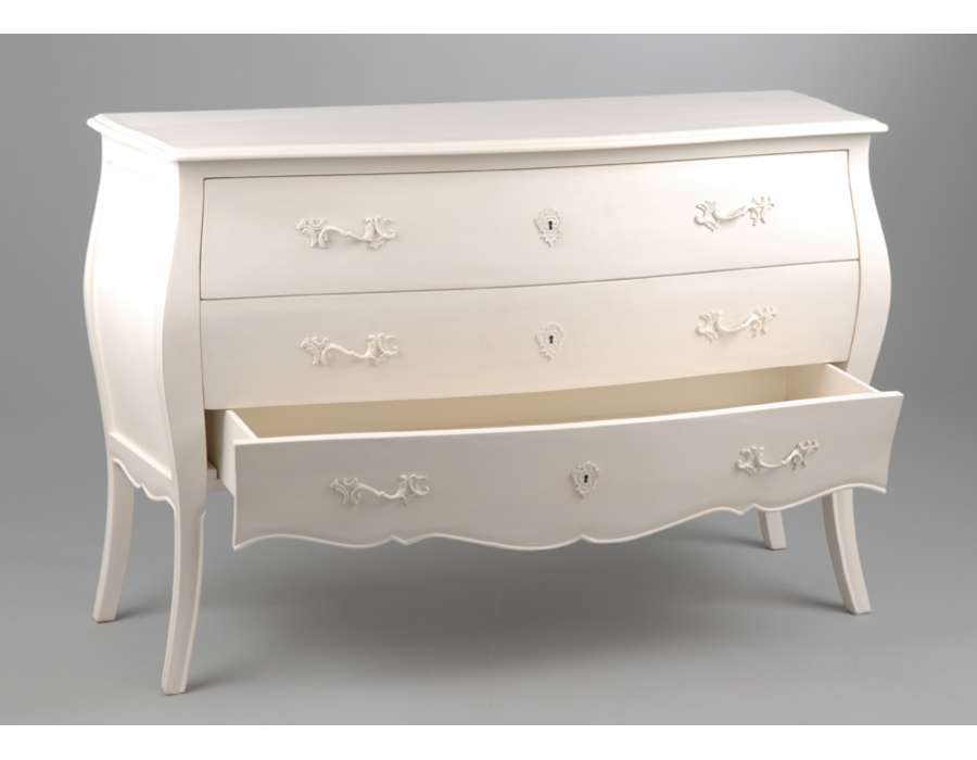 grande commode blanche 3 tiroirs longue creme. Black Bedroom Furniture Sets. Home Design Ideas