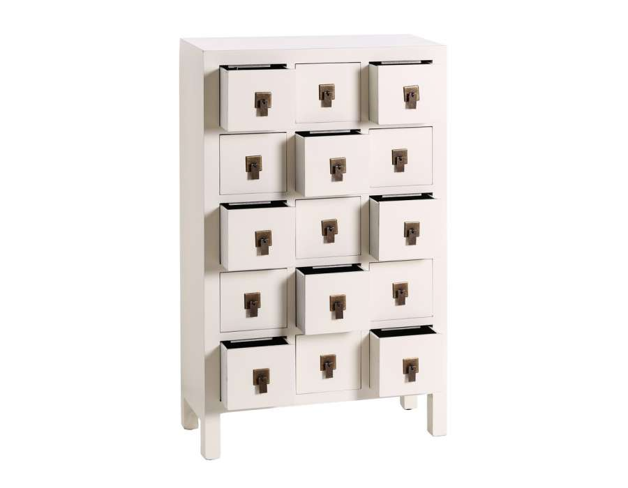 Meuble à tiroirs chinois blanc