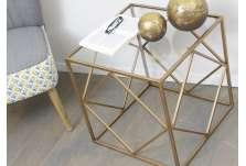Bout de canapé verre et or carré