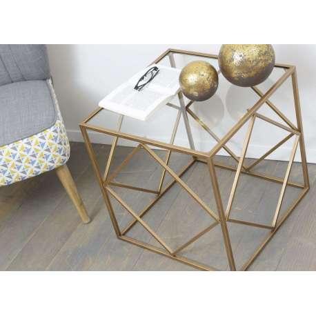 Bout De Canap Verre Et Or Design Petite Table Design Verre