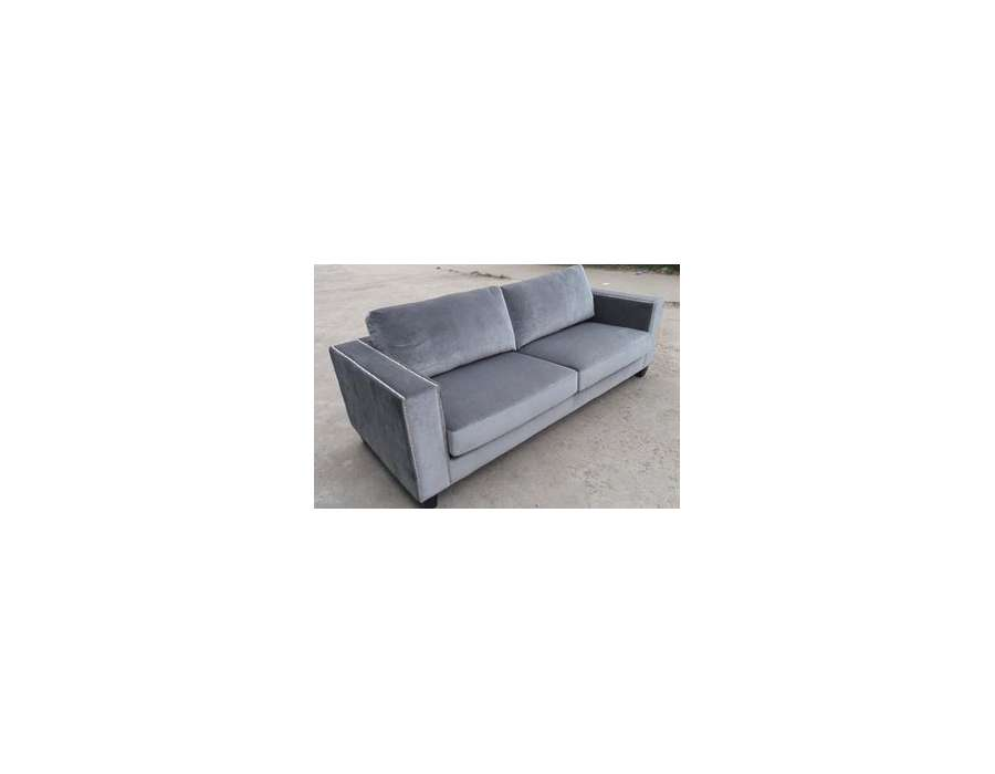 Canapé 3/4 places velours gris clair