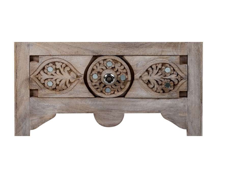 Table de chevet bois manguier massif style oriental - Bois manguier qualite ...