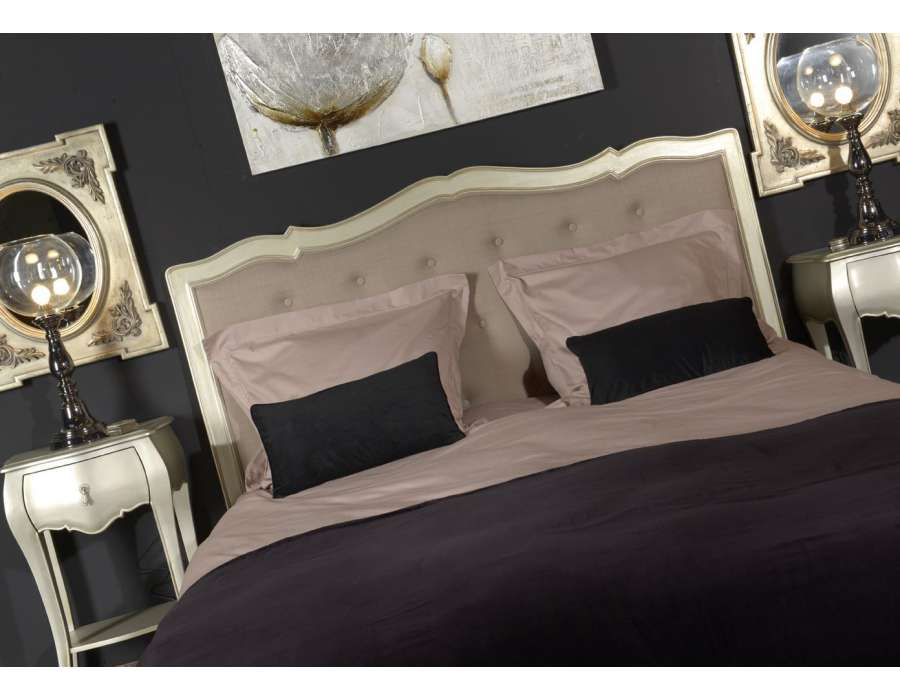 t te de lit argent de style baroque pour la chambre lit de 160 cm. Black Bedroom Furniture Sets. Home Design Ideas