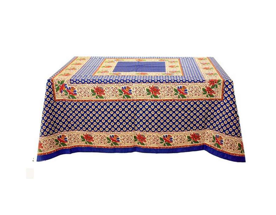 grande nappe rectangulaire proven ale motifs bleus et jaunes. Black Bedroom Furniture Sets. Home Design Ideas