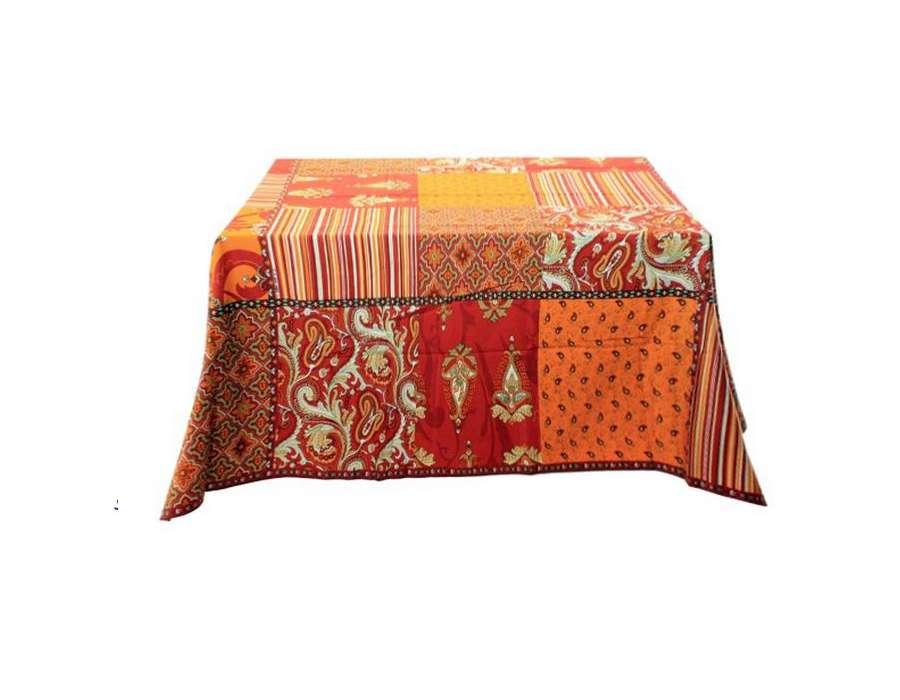 nappe carrée provençale rouge et orange pas chere