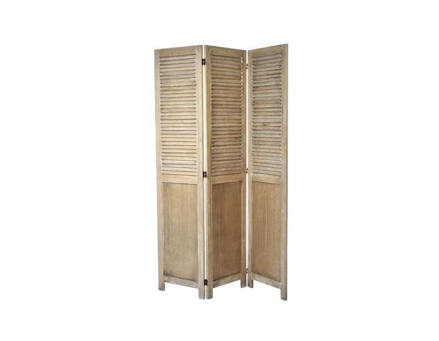 paravent en bois persiennes avec 3 panneaux. Black Bedroom Furniture Sets. Home Design Ideas