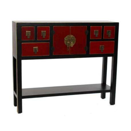 grande console japonaise noire et rouge 1 placard meuble chinois pas cher. Black Bedroom Furniture Sets. Home Design Ideas