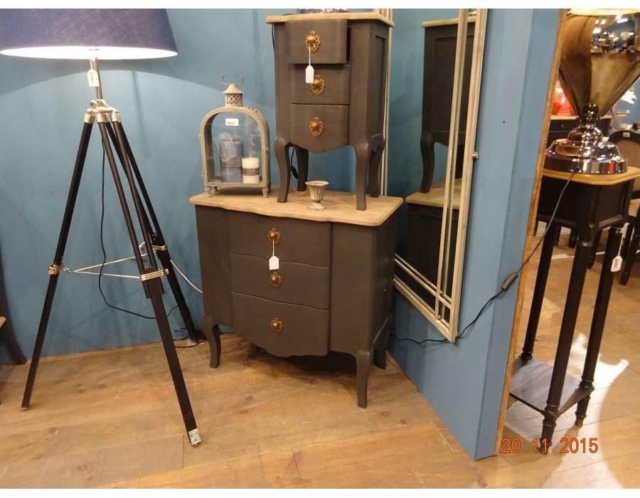 Petite commode de salon grise 3 tiroirs