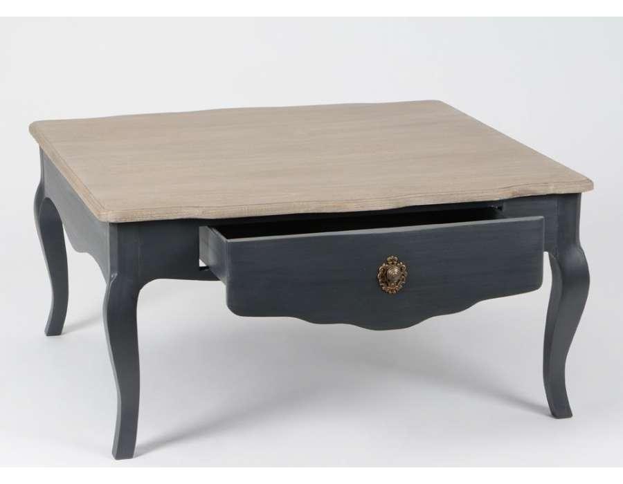 Table basse grise et bois