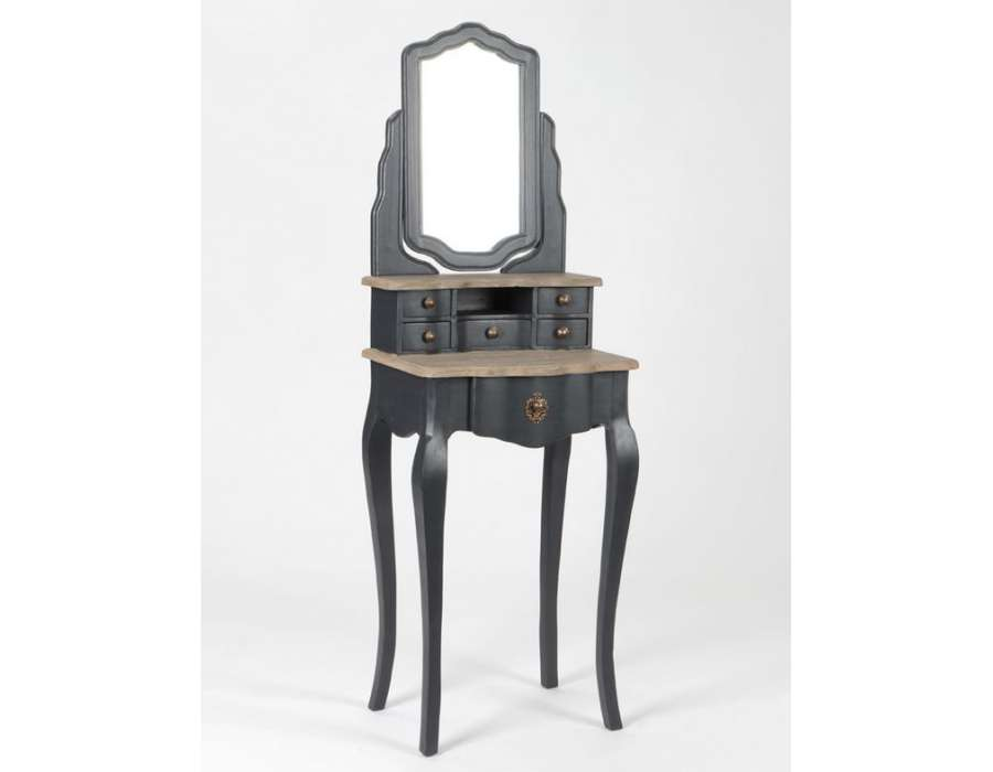 coiffeuse grise avec plateau bois et miroir. Black Bedroom Furniture Sets. Home Design Ideas